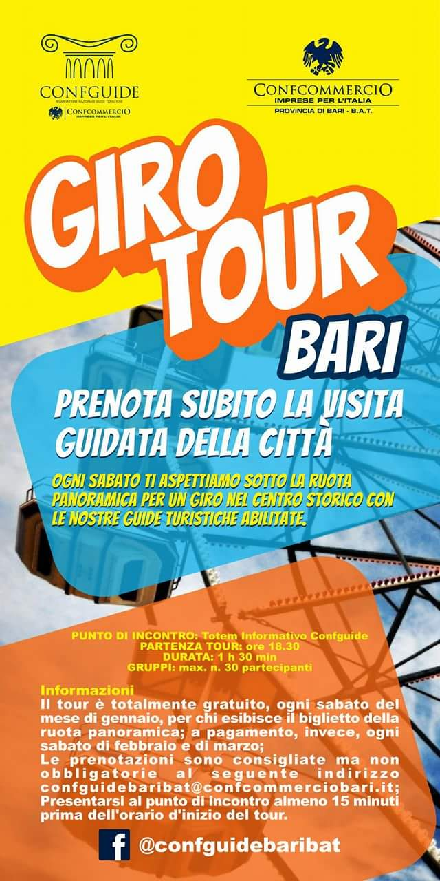 Visita Castel del monte.com promuove Giro tour Bari con Guide Confguide, ogni sabato alle 18.30 a Bari